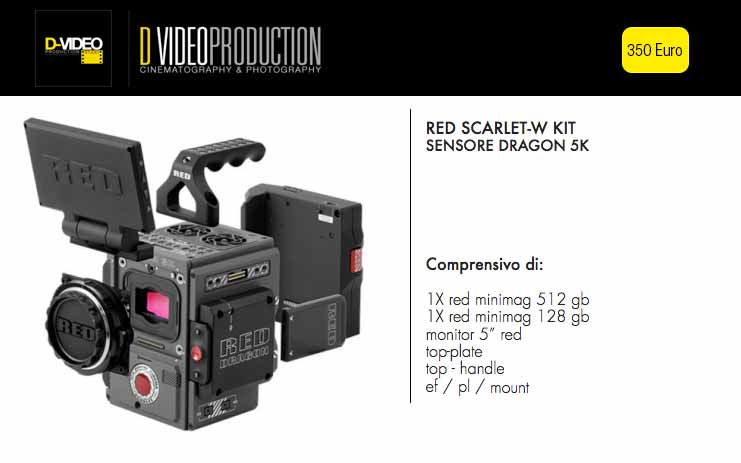 noleggio red camera, rental red camera scarlet-w
